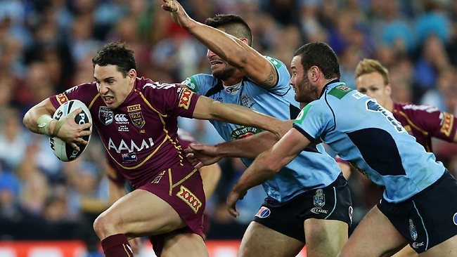 TOUGH CALL: Billy Slater makes a break during Origin III against vthe Blues at ANZ Stadium. Picture: Brett Costello