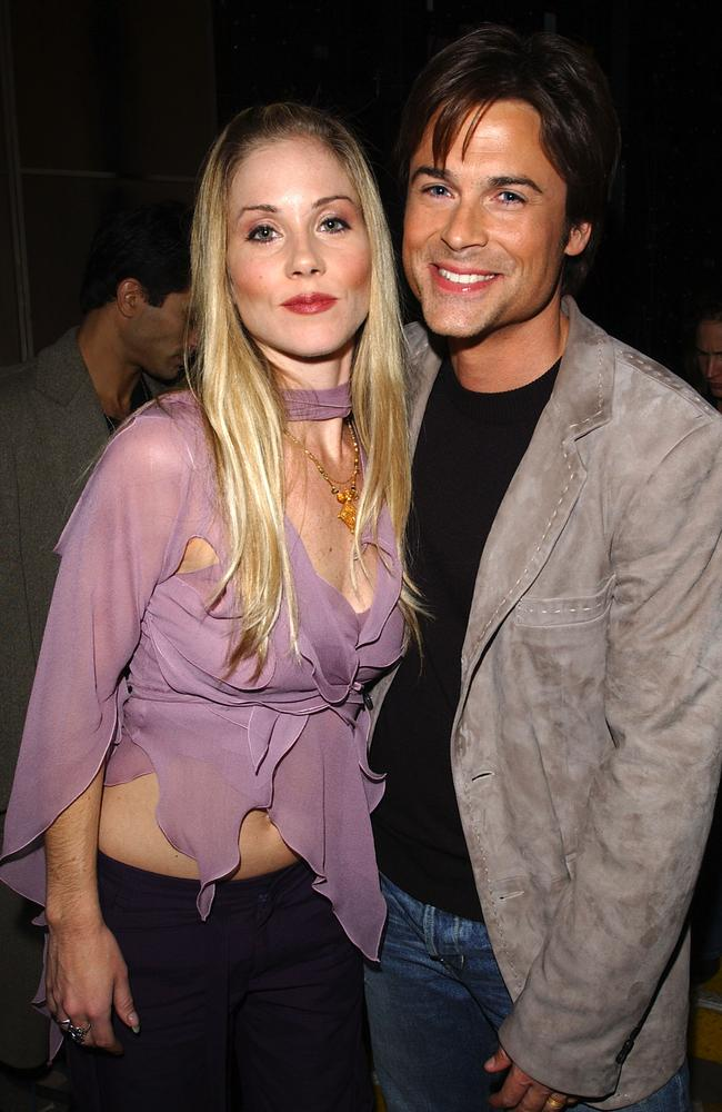 Early days... Christina Applegate and Rob Lowe backstage at the VH1 Big in 2002 Awards at the Grand Olympic Auditorium in Los Angele. Picture: Getty