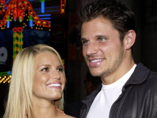 First husband ... Singer Jessica Simpson with former husband Nick Lachey starred in a reality television show when they got married called Newlyweds.