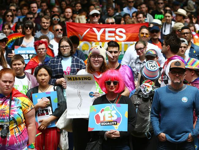 Australians will learn the results of the contentious same-sex marriage survey this morning at 10am (AEDT). Picture: Lisa Maree Williams/Getty Images