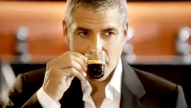 Why is George Clooney sipping coffee from a pod? Oh, right. That whole thing.