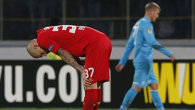Liverpool's Martin Skrtel reacts after their 0-2 loss to Zenit St Petersburg.