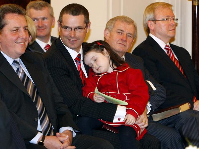 Senator Stephen Conroy has announced he will quit politics to spend more time with his daughter, Isabella. Picture: Supplied