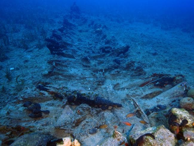 The keel and ballast stones belonging to one of 23 new wrecks found in the Aegean's 'ship graveyard'. Picture: Vasilis Mentogianis