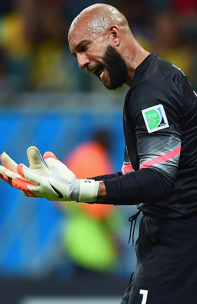 USA goalkeeper Tim Howard has been fantastic against Belgium.