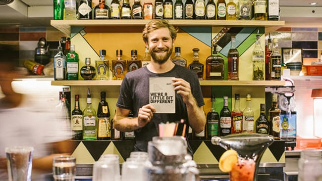 Shebeen co-founder Simon Griffiths behind the unique-looking bar. Picture: Clever Deer