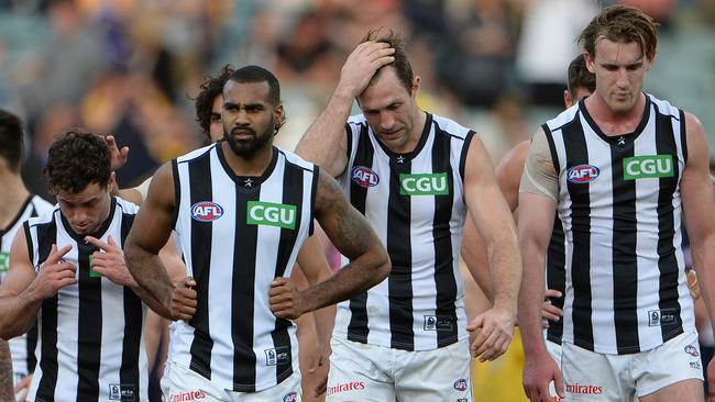 Collingwood struggled in the west against West Coast. Picture: Daniel Wilkins
