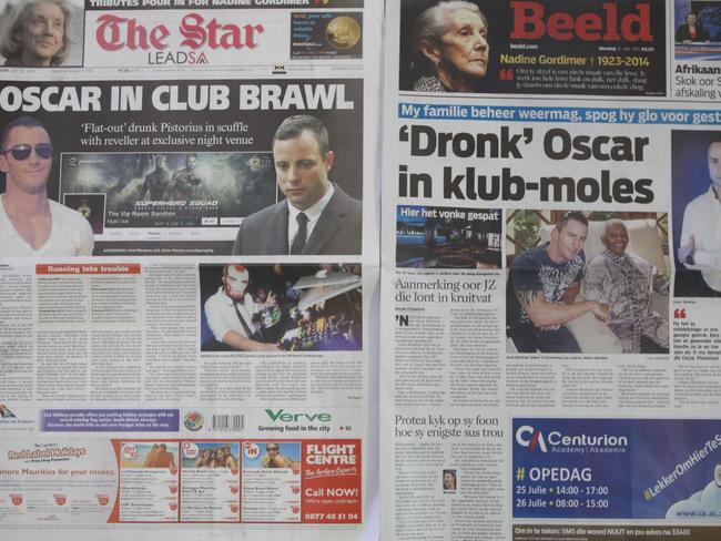 Two Johannesburg newspapers' reports after Oscar Pistorius was recently involved in a nightclub incident.