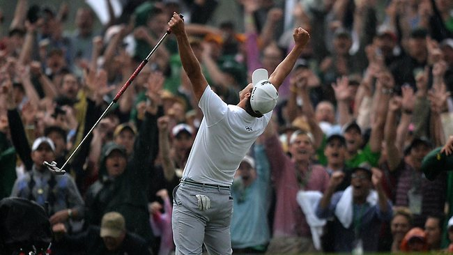 Adam Scott celebrates his playoff win on the 10th hole to seal a first Masters crown for Australian golf.
