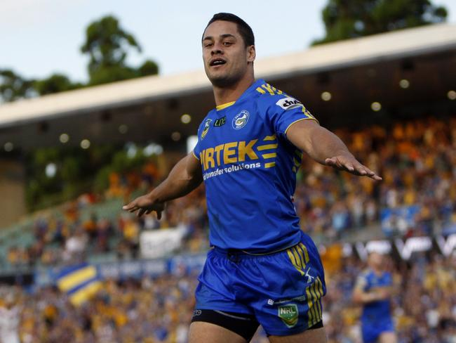Jarryd Hayne does the Hayne Plane after scoring a try for Parramatta in 2013. Picture: AAP