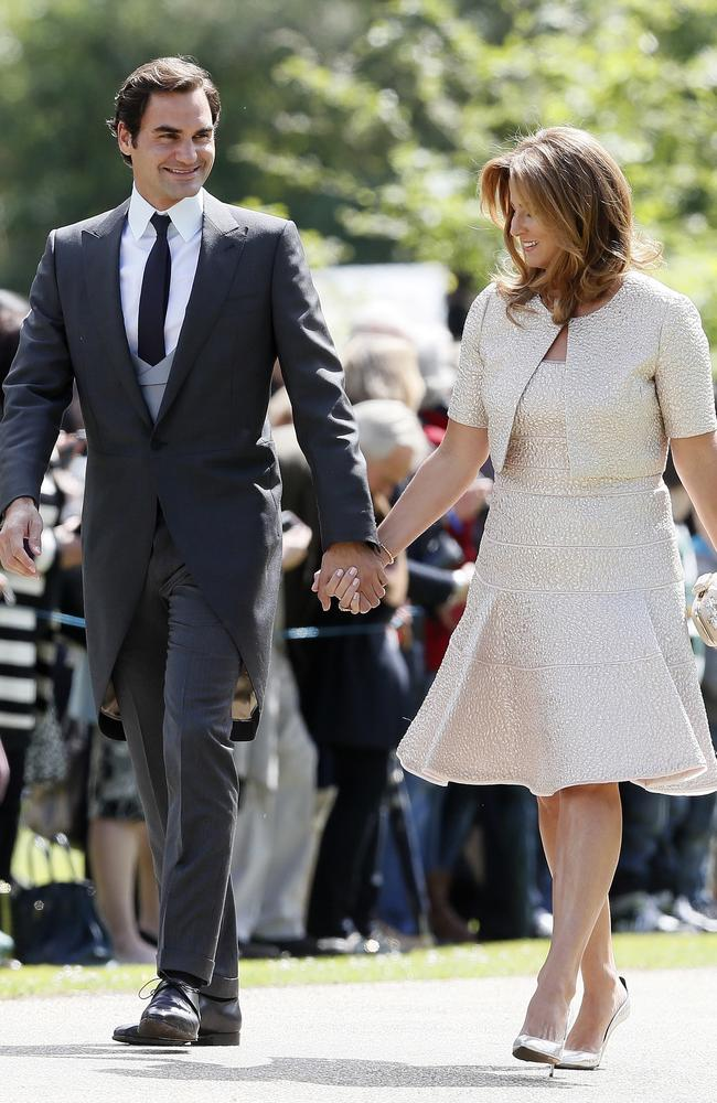 Tennis legend Roger Federer and his wife Mirka arrive ahead of the wedding.