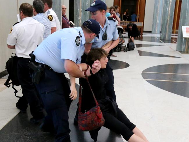 Refusing to leave ... one climate change protester in the Marble Foyer. Picture: Ray Strange