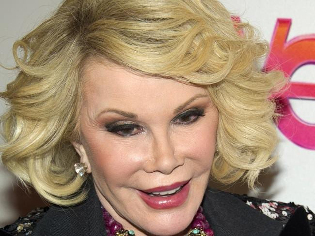 Joan Rivers has been moved out of intensive care after her throat surgery went wrong last week. Picture: AP Photo/Charles Sykes