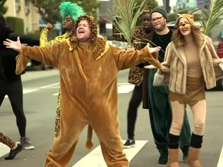 Rogen, Byrne, Corden stop traffic with Lion King skit