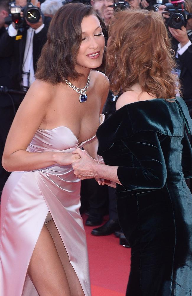 Bella Hadid flashes her undies as she greets Susan Sarandon on the red carpet at the 70th Cannes Film Festival in France. Picture: Splash News and Pictures