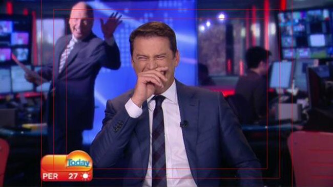 Finance expert, Ross Greenwood, has some fun with Karl in the news studio. Picture: @todayshow