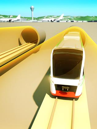 An artist impression of the underground train.