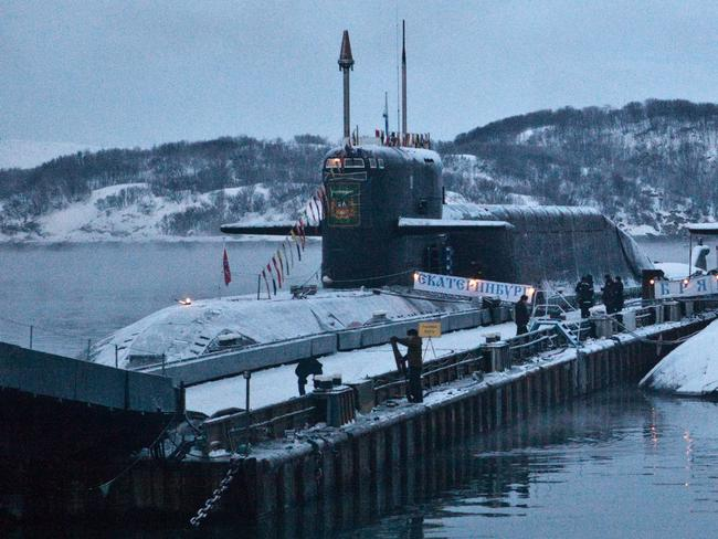 The Yekaterinburg is a Delta-IV-class nuclear-powered submarine that normally carries 16 nuclear-tipped intercontinental ballistic missiles, based in the Kalo Peninsula region. In 2010 one was engulfed by fire, but there was no radiation leak, officials said at the time. Picture: AP Photo/Roustem Adagamov)