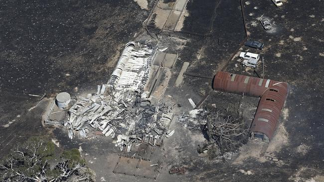 An aerial shot of a farm destroyed by fire at Wallan. Picture: David Caird