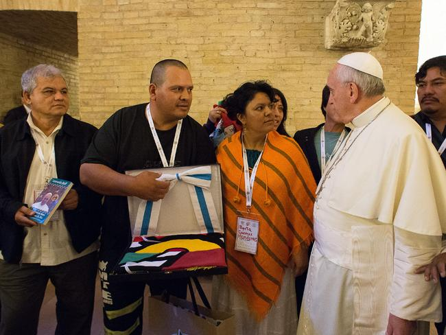 Mingling ... Pope Francis meets with participants of the Global Meeting of Popular Movements at the Vatican. Picture: AP Photo/L'Osservatore Romano