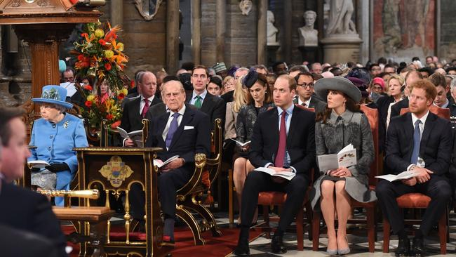 Sitting on the front row are (from left) Queen Elizabeth II, Prince Philip, Duke of Edinburgh, Prince William, Catherine, Duchess of Cambridge and Prince Harry. Picture: Geoff Pugh/AFP