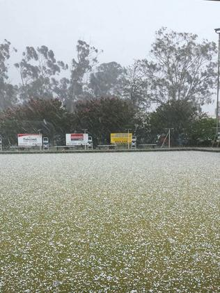Hail stops play on the bowling green. Picture: Facebook