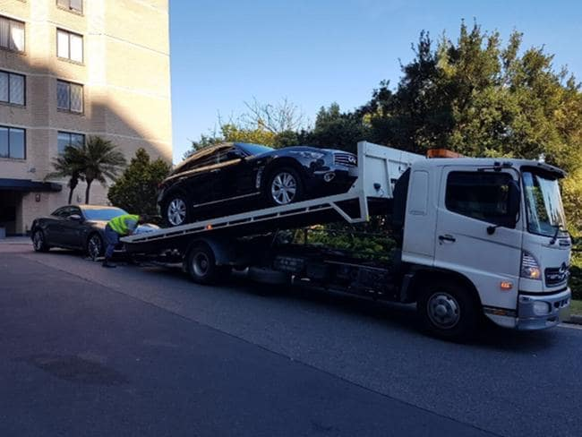 A car being seized.