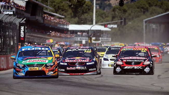 Mark Winterbottom leads the pack to the first corner during Race 1 of the Clipsal 500. Picture: Matt Turner