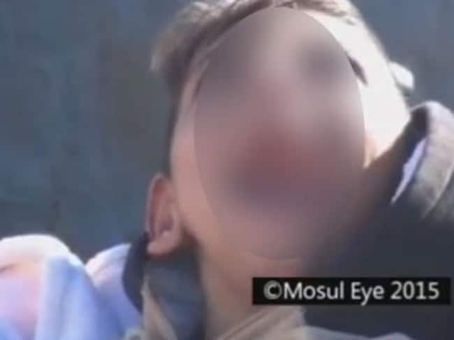 One of the disabled children shown in the video released by Mosul Eye. Picture: Screengrab.