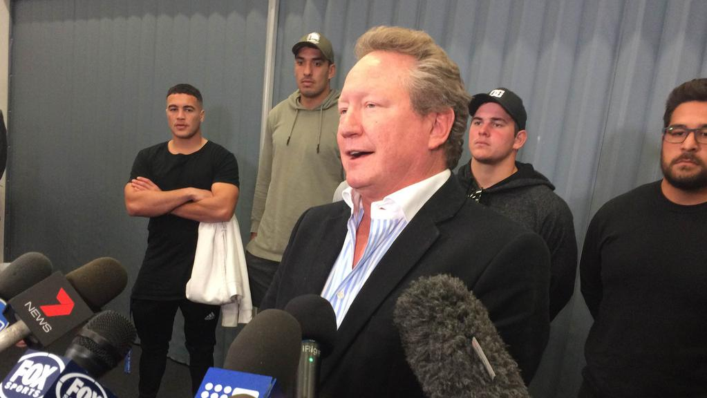 Billionaire and philanthropist Andrew Forrest speaks during a press conference.