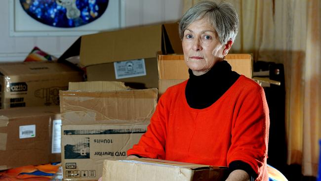 Marilyn Pearson readies to move out of her Brighton Caravan Park home. Picture: Noelle Bobrige