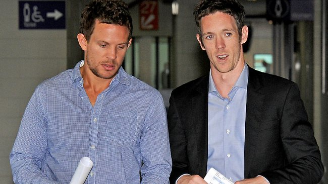 Collingwood's Luke Ball and Bulldog Robert Murphy leave today's AFL drugs summit. Picture: Mike Keating