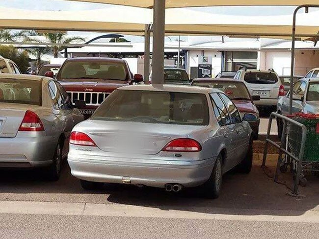 No point in being fussy when there's shopping to do. Genine Jaunay spotted this entry in our parking masterclass at Westlands Shopping Centre, Whyalla. Source: Facebook