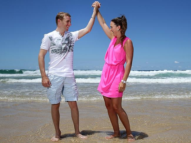 Nathan Berry and then fiancee Whitney Schofield enjoy a day at the beach earlier this year. Picture: Adam Head