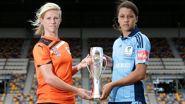 Brisbane Roar's Elise Kellond-Knight and Sydney FC's Sam Kerr at the launch of the W-League 2013 finals series at QSAC in Brisbane. Picture: Peter Wallis