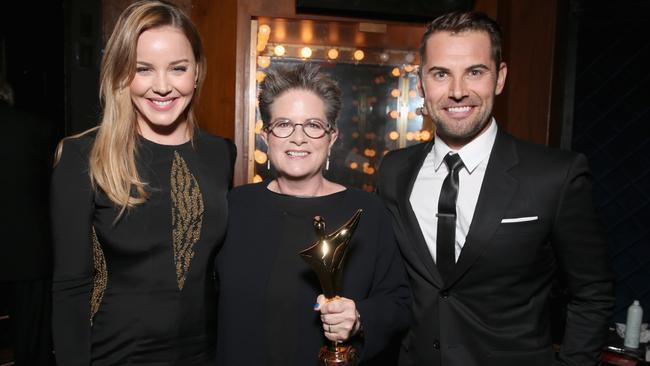 Abbie Cornish, writer/director Phyllis Nagy and Daniel MacPherson at the ceremony. Picture: Todd Williamson/Getty Images/AACTA.