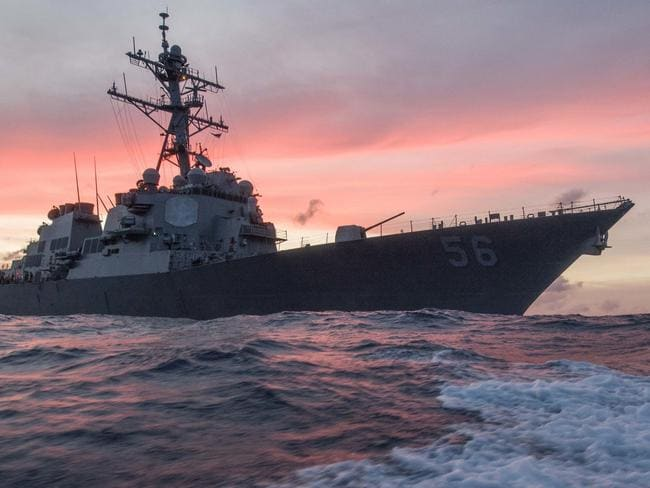 The USS John S McCain conducts a patrol in the South China Sea in January. Picture: AP
