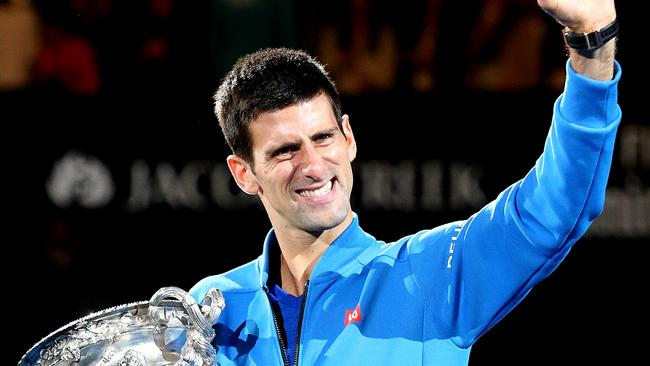 2015 Australian Open Tennis Men's Singles Final — AO15 — Novak Djokovic celebrates his win against Andy Murray. Picture: Mark Stewart