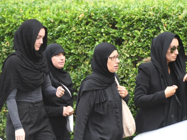 Women in hijabs arrived to pay their respects at the funeral of Mahmoud 'Mick' Hawi on Thursday. Picture: AAP.