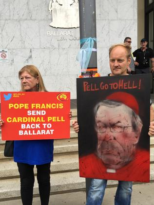 Protesters target Cardinal George Pell in Ballarat, Melbourne on Monday. Picture: Megan Neil