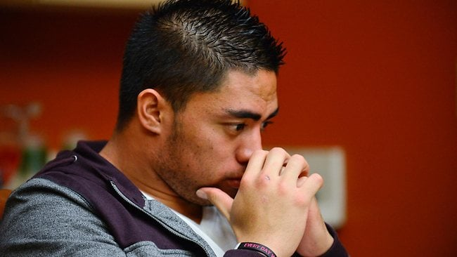 NOTRE Dame linebacker Manti Te'o pauses during an interview with ESPN, which says he maintains he was never involved in creating the dead girlfriend hoax. . Picture: AP Photo/ESPN Images, Ryan Jones