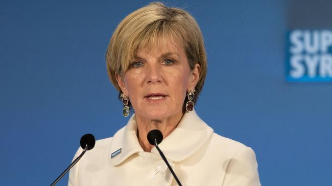 Diplomatic challenge ... Australian Foreign Minister Julie Bishop said she hasn't yet seen the UN report. Picture: Matt Dunham — WPA Pool /Getty Images