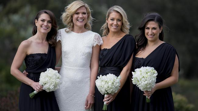 Sarah with her bridesmaids. Picture:James Horan