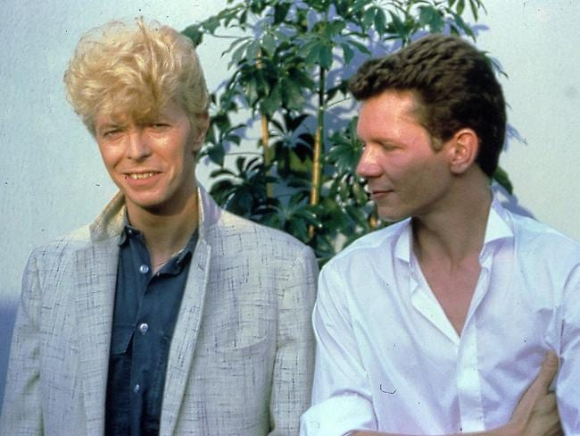 David Bowie and Icehouse frontman Iva Davies together at Milton Keynes before gig on the Serious Moonlight tour. Picture: Supplied by Iva Davies
