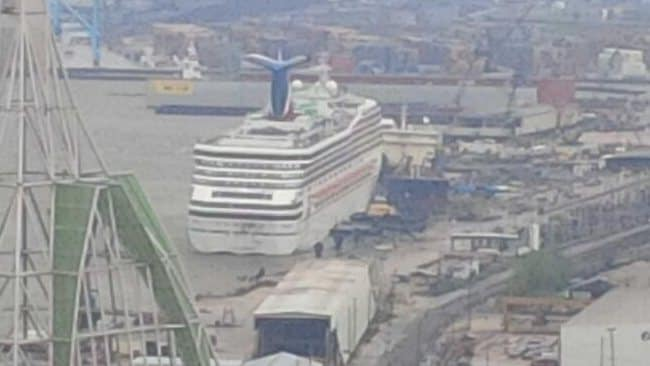 A picture posted to Twitter of the cruise ship Triumph at the dock in Mobile, Alabama. Picture: #mle724