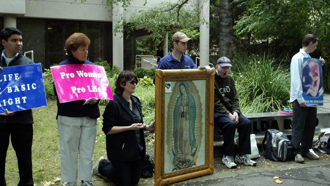 Women are greeted (read: harassed) by anti-abortion protesters like this every day outside clinics in Australia.