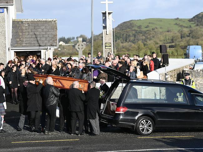 The coffin of Dolores O'Riordan is loaded into a hearse after her funeral. Picture: Jeff J Mitchell/Getty Images