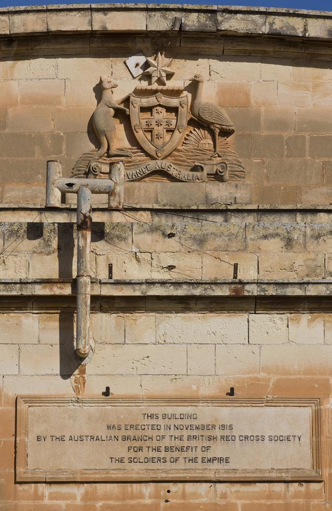 Coat of arms is still there ... Australia Hall is a shadow of its former self. Picture: Ella Pellegrini