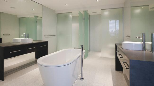 1903/578 St Kilda Rd, Melbourne. The main bedroom's ensuite comes with a spa bath, plus his and hers vanities.