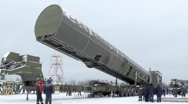 Image apparently showing Russia's new Sarmat intercontinental missile is shown at an undisclosed location in Russia. Picture: RU-RTR Russian Television via AP